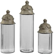 Uttermost Acorn Glass/Resin Cylinder Decorative Canister Set, Clear/Textured Brown, 3-Pieces/Set