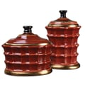 Uttermost Brianna Ceramic Decorative Canister Set, Red/Gold Leaf, 2-Pieces/Set