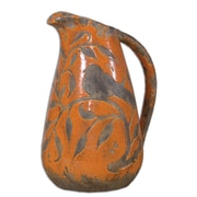 "Uttermost Som 12"" Orange/Antique Khaki Ceramic Vase, Crackled"