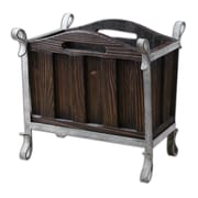 Uttermost Miho Wood/Iron Magazine Holder, Brown/Silver