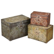 Uttermost Hobnail Red/Mossy Green/Brown MDF 3-Piece Box Set