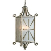 Uttermost Lyon 4 Light Old World Lantern, Antique Silver Leaf
