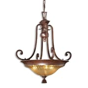 Uttermost Elba 3 Light Crackle Glass Bowl Pendant, Spice Bronze