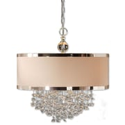 Uttermost Fascination 3 Light Floating Crystal Drum Pendant, Off-white/Silver