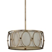 Uttermost Ovala 3 Light Oval Drum Pendant, Antique Gold Leaf