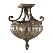 Uttermost Galeana 2 Light Blown Glass Semi Flush Mount, Antique Saddle