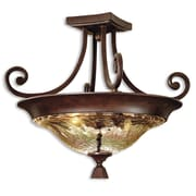Uttermost Elba 2 Light Crackle Glass Semi Flush Mount, Spice Bronze