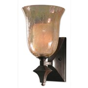 Uttermost Elba 1 Light Crackled Glass Wall Sconce, Spice Bronze