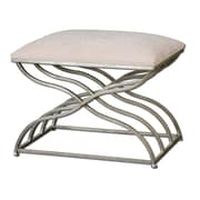 Uttermost Shea Metal/MDF/Foam/Fabric Small Bench, Satin Nickel
