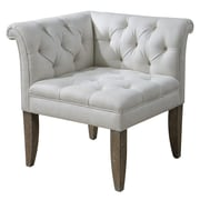 Uttermost Tahtesa Wood/Linen Corner Chair, White/Brown