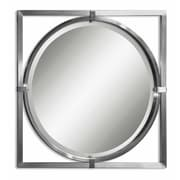 "Uttermost 30"" x 30"" x 2"" Kagami Metal Frame Mirror, Brushed Nickel"