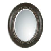 """Uttermost 35"""" x 27"""" x 2"""" Tivona Metal Frame Mirror, Dark Chestnut"""