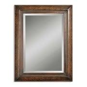 "Uttermost 40"" x 30"" x 1"" Rowena Metal Frame Mirror, Distressed Mahogany/Tan Glaze/Antique Gold"