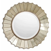 "Uttermost 32"" x 32"" x 3"" Amberlyn Metal Frame Mirror, Antiqued Gold Leaf"