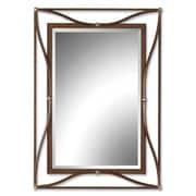 "Uttermost 38"" x 28"" x 3"" Thierry Metal Frame Mirror, Bronze/Champagne Silver"