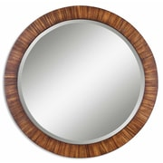 Uttermost 36 x 36 x 1 Jules Wooden Frame Mirror, Brown