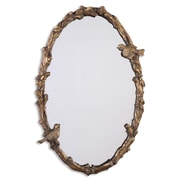 """Uttermost 34"""" x 22"""" x 3"""" Paza Metal Frame Mirror, Antiqued Gold Leaf/Gray"""