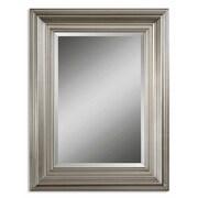 """Uttermost 41"""" x 31"""" x 2"""" Mario Wooden Frame Mirror, Silver Leaf"""