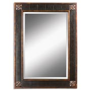 Uttermost 38 x 28 x 1 Bergamo Wooden Frame Vanity Mirror, Brown/Black/Gold/Tan