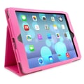 Snugg Leather Flip Stand Cover Case With Elastic Strap For Apple iPad Air/iPad 5, Hot Pink