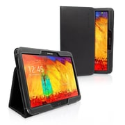Snugg Leather Flip Stand Cover Case W/Elastic Strap F/Samsung Galaxy Note 10.1 2014 Edition, Black