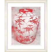 Studio Works Modern ''Bamboo Urn - Red'' by Zhee Singer Framed Graphic Art in Red; Creamy White