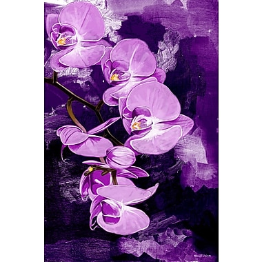 Maxwell Dickson ''Purple Orchid'' Graphic Art on Canvas; 36'' H x 24'' W
