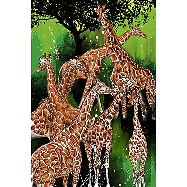 Maxwell Dickson ''Group of Giraffe'' Painting Print on Canvas; 36'' H x 48'' W