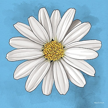 Maxwell Dickson ''White Daisy'' Graphic Art on Canvas; 40'' H x 40'' W