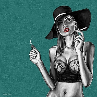 Maxwell Dickson ''Red Lips'' Painting Print on Canvas; 36'' H x 36'' W