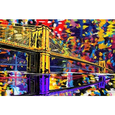 Maxwell Dickson ''Brooklyn Bridge'' Graphic Art on Canvas; 18'' H x 24'' W