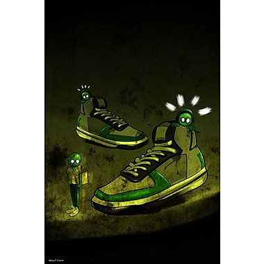 Maxwell Dickson ''Sneaker Aliens'' Graphic Art on Canvas; 24'' H x 18'' W