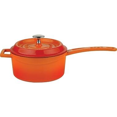 Lava Cookware Signature Enameled Cast-Iron 1 Qt. Sauce Pan w/ lid; Orange Spice