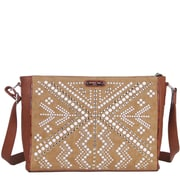 Nicole Lee Jolene Geometric Studwork Messenger Bag; Brown