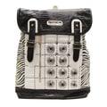 Nicole Lee Minerva Zebra Quilted Embellished Backpack; White