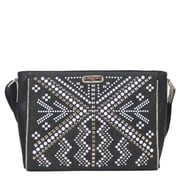 Nicole Lee Jolene Geometric Studwork Messenger Bag; Black
