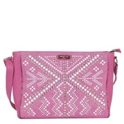 Nicole Lee Jolene Geometric Studwork Messenger Bag; Fuchsia