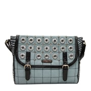 Nicole Lee Minerva Zebra Quilted Embellished Messenger Bag; Celeste
