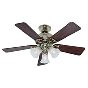 Hunter Fans 42'' The Beacon Hill  5 Blade Ceiling Fan; Bright Brass with Rosewood/Medium Oak Blades