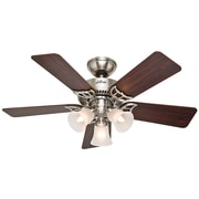 Hunter Fans 42'' Southern Breeze 5 Blade Ceiling Fan; Brushed Nickel with Cherry/Maple Blades