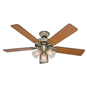 Hunter Fans 52'' The Sontera  5 Blade Ceiling Fan with Remote; Bright Brass with Oak/Walnut Blades