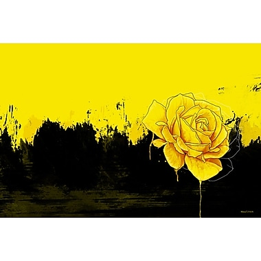 Maxwell Dickson 'Yellow Rose' Graphic Art on Canvas; 36'' H x 48'' W