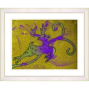 Studio Works Modern ''Reindeer - Gold'' by Zhee Singer Framed Painting Print; Creamy White