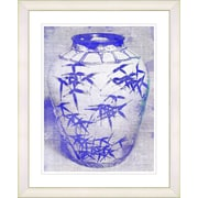 Studio Works Modern ''Bamboo Urn - Blue'' by Zhee Singer Framed Painting Print; Creamy White