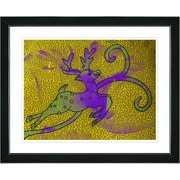 Studio Works Modern ''Reindeer - Gold'' by Zhee Singer Framed Painting Print; Satin Black