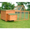 Aosom Pawhut Wood Chicken Coop Rabbit Hen House Nest Huge Run Backyard Poultry Cage