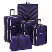 Adolfo Adolfo Venice 5 Piece Luggage Set; Purple/Black