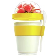 AdNArt 12 oz. Yogurt Cup Storage Container with Spoon; Yellow