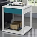Altra Parsons End Table; White / Teal
