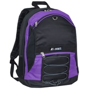 Everest Two-Tone Backpack with Mesh Pockets; Dark Purple / Black